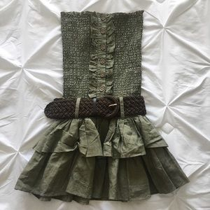 Sirens | Army Green Strapless Dress